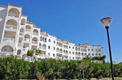 Hotel on Mediterranean coast. Beautiful hotel in Mediterranean beach town of Nerja, Spain Stock Image