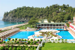 Hotel on Mediterranean Sea shore. Antalya, Turkey Royalty Free Stock Photos