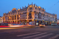 Hotel Metropol in Moscow. Moscow, Russia - February 6, 2014: Building of the hotel Metropol in evening. Built in 1899-1905, it is the remarkable monument of the Royalty Free Stock Photography
