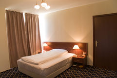 Hotel modern bedroom Stock Photos