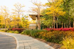 Hotel modern conference center in secluded location in trees and Stock Photography