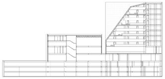 Hotel moderno que construye el modelo arquitectónico stock de ilustración
