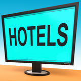 Hotel Monitor Shows Motel Hotels And Room Royalty Free Stock Images