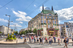 Hotel moskva. SERBIA, BELGRADE - JULY 26: Hotel Moskva on July 26, 2017 in Belgrade. Hotel Moskva in downtown Belgrade. The pedestrians, Terazijska fountain and royalty free stock photo