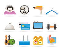 Hotel and motel amenity icons Stock Photos