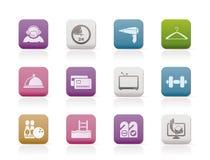 Hotel and motel amenity icons-. Hotel and motel amenity icons -  icon set Royalty Free Stock Photo