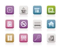 Hotel and motel amenity icons. Icon set Stock Photography