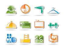 Hotel and motel amenity icons Royalty Free Stock Photography