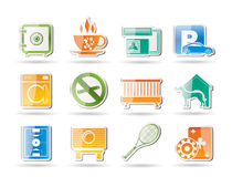 Hotel and motel amenity icons Royalty Free Stock Images