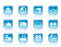 Hotel and motel amenity icons Royalty Free Stock Photo