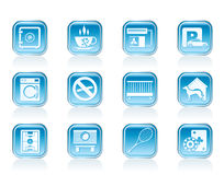 Hotel and motel amenity icons Stock Photography
