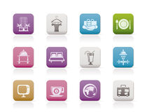 Hotel, Motel And Holidays Icons Royalty Free Stock Photos