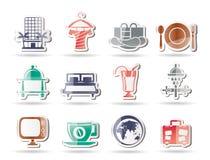 Hotel, motel ed icone di feste Fotografie Stock