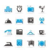 Hotel, motel ed icone di viaggio Immagini Stock