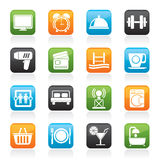 Hotel and Motel facilities icons. Vector icon set Stock Image