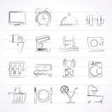 Hotel and Motel facilities icons Stock Photos