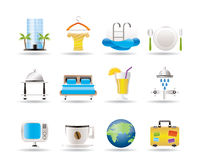 Hotel, motel and holidays icons Royalty Free Stock Photo