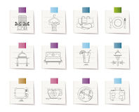 Hotel, motel and holidays icons Stock Photography