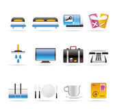 Hotel and motel icons Royalty Free Stock Images