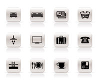 Hotel and motel icons Stock Photos