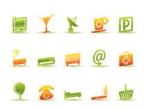 Hotel and motel icons Stock Image