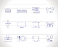 Hotel and motel icons Stock Photography