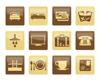 Hotel and motel icons over brown background Royalty Free Stock Photo