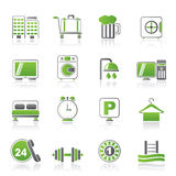 Hotel and motel icons Royalty Free Stock Photos