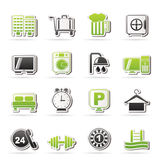 Hotel and motel icons Stock Images