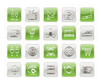Hotel and Motel objects icons Stock Photo