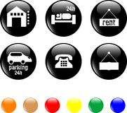 Hotel and motel objects icons Stock Images