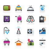 Hotel and motel room facilities icons Stock Image