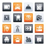 Hotel and motel room facilities icons over color background royalty free stock photos