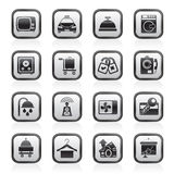 Hotel and motel room facilities icons Royalty Free Stock Photography