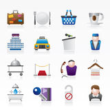 Hotel and motel services icons Stock Image