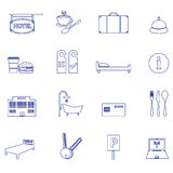 Hotel and motel simple outline icons Stock Photo