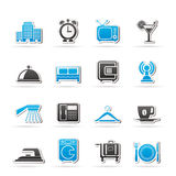 Hotel, motel and travel icons Stock Images