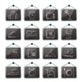 Hotel, motel and travel icons Stock Image