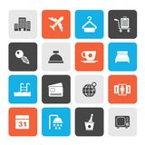 Hotel, motel and travel icons. Vector icon set royalty free illustration