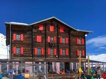 Hotel and mountain restaurant Fluhalp, Zermatt, Switzerland royalty free stock photo
