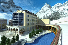 Hotel in mountain with snow and a pool. Stock Photos