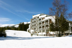Hotel and mountains in Jasna. Royalty Free Stock Photography
