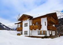 Hotel at mountains - ski resort Solden Austria Stock Photos