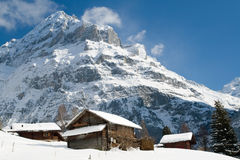 Hotel near the Grindelwald ski area. Swiss alps at winter Royalty Free Stock Photo