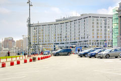 Hotel near the Kiev railway station. MOSCOW, RUSSIA - April 08.2014: The building is a modern hotel on the square of Europe near Kievsky railway station Royalty Free Stock Photo