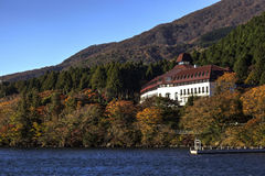 A hotel near Lake Ashi facing towards Mount Fuji Stock Photo