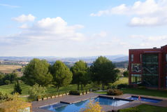 Hotel near Montserrat. View from a window of a hotel room near mountain Montserrat in Spain Stock Images