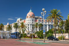 Hotel Negresco op Engelse promenade in Nice Stock Foto