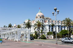 The Hotel Negresco and Promenade des Anglais Royalty Free Stock Photos