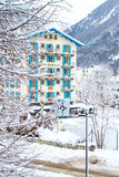 Hotel nella città di Chamonix-Mont-Blanc in alpi francesi, Francia Immagini Stock Libere da Diritti